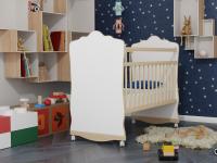Кровать Колибри Велла-3 (колесо-качалка, цвет белый-решетки береза)