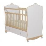 Кровать Колибри Велла-3 с ящиком (колесо-качалка, цвет белый, решетки береза)