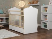 Кровать Колибри Велла-5 с ящиком (поперечный маятник, цвет белый-решетки береза)
