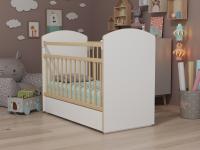 Кровать Колибри Классик-5 с ящиком (поперечный маятник, цвет белый-решетки береза)